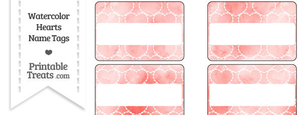 Red Watercolor Hearts Name Tags