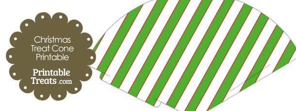 Red White and Green Diagonal Striped Printable Treat Cone