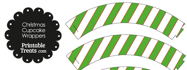 Red White and Green Diagonal Striped Cupcake Wrappers