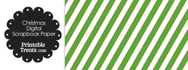 Red White and Green Diagonal Striped Digital Scrapbook Paper