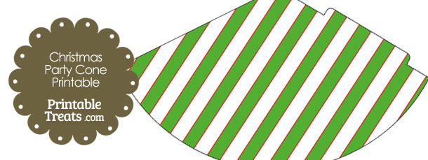 Red White and Green Diagonal Striped Party Cone