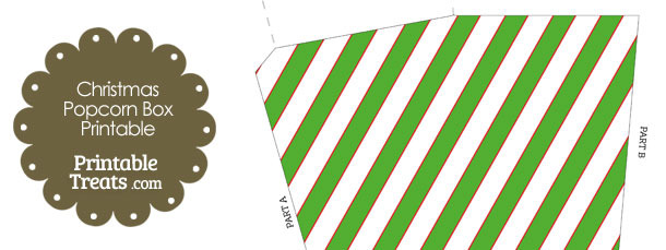 Red White and Green Diagonal Stripes Popcorn Box