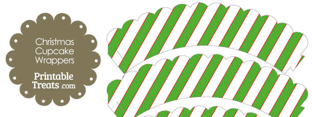 Red White and Green Diagonal Striped Scalloped Cupcake Wrappers