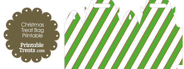 Red White and Green Diagonal Striped Treat Bag