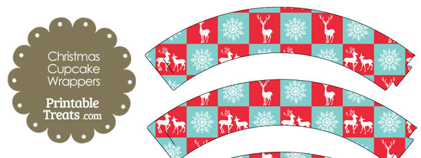 Reindeer and Snowflakes Cupcake Wrappers