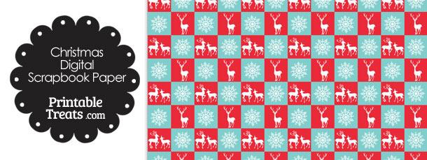 Reindeer and Snowflakes Digital Scrapbook Paper