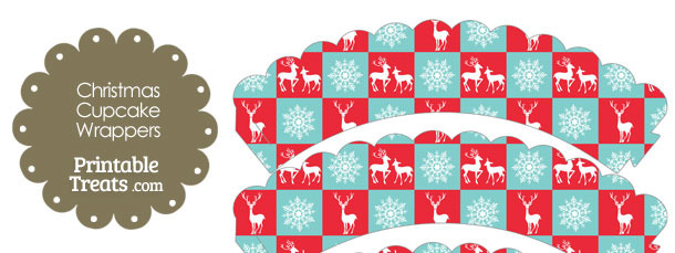 Reindeer and Snowflakes Scalloped Cupcake Wrappers
