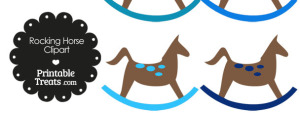 Rocking Horse Clipart with Blue Dots
