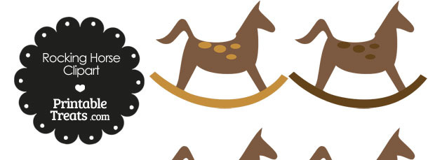 Rocking Horse Clipart with Brown Dots