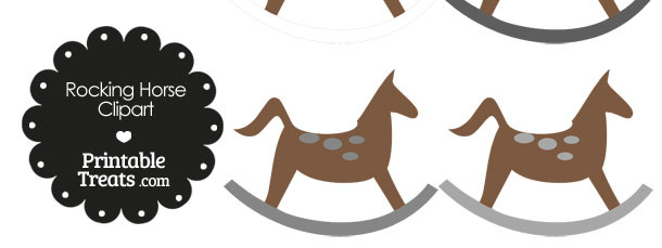 Rocking Horse Clipart with Grey Dots