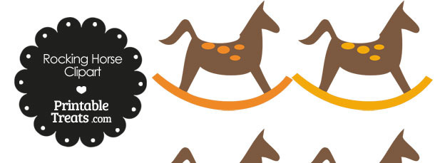 Rocking Horse Clipart with Orange Dots