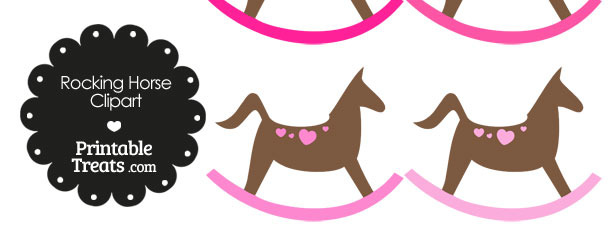 Rocking Horse Clipart with Pink Hearts