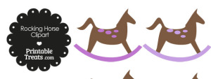 Rocking Horse Clipart with Purple Dots