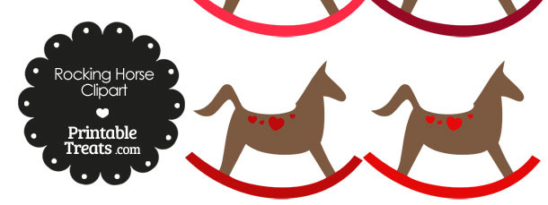 Rocking Horse Clipart with Red Hearts