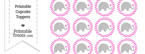Rose Pink Chevron Baby Elephant Cupcake Toppers
