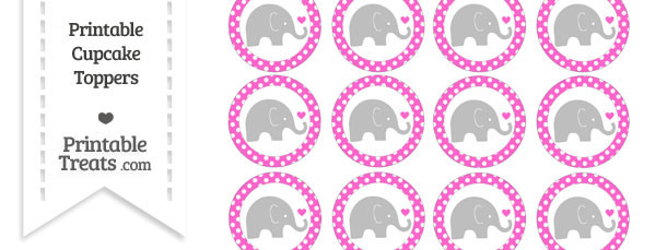 Rose Pink Polka Dot Baby Elephant Cupcake Toppers