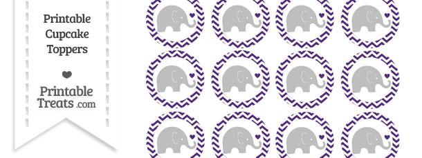 Royal Purple Chevron Baby Elephant Cupcake Toppers