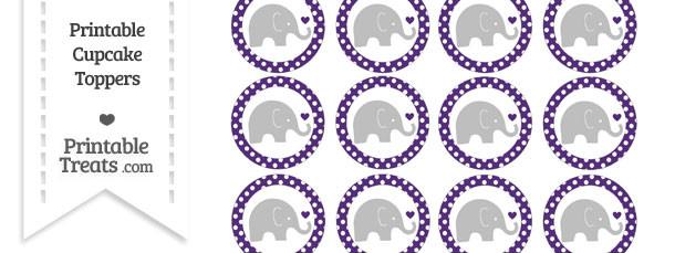 Royal Purple Polka Dot Baby Elephant Cupcake Toppers