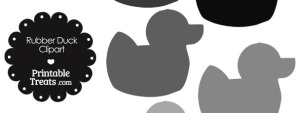 Rubber Duck Clipart in Shades of Grey