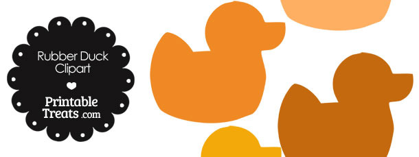 Rubber Duck Clipart in Shades of Orange