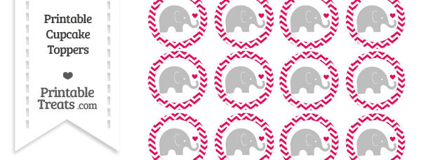 Ruby Pink Chevron Baby Elephant Cupcake Toppers