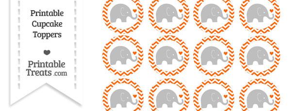 Safety Orange Chevron Baby Elephant Cupcake Toppers