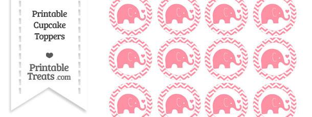Salmon Pink Baby Elephant Chevron Cupcake Toppers