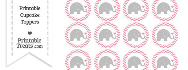 Salmon Pink Chevron Baby Elephant Cupcake Toppers