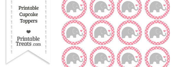Salmon Pink Polka Dot Baby Elephant Cupcake Toppers