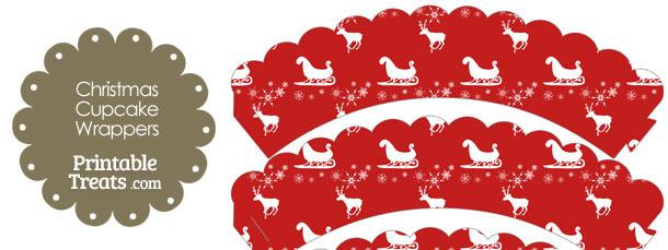 Santas Sleigh Scalloped Cupcake Wrappers