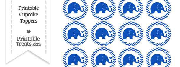 Sapphire Blue Baby Elephant Chevron Cupcake Toppers
