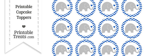 Sapphire Blue Chevron Baby Elephant Cupcake Toppers