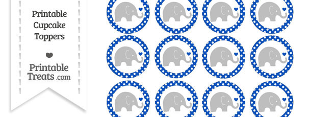 Sapphire Blue Polka Dot Baby Elephant Cupcake Toppers