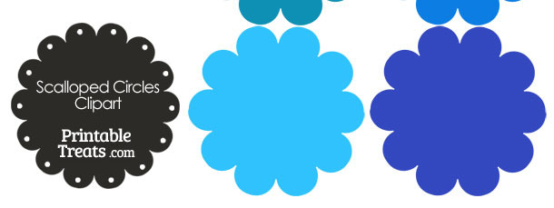 Scalloped Circles Clipart in Shades of Blue