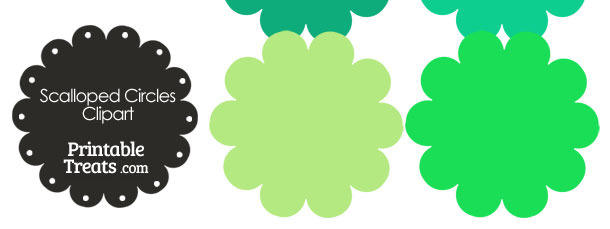 Scalloped Circles Clipart in Shades of Green