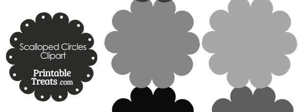 Scalloped Circles Clipart in Shades of Grey