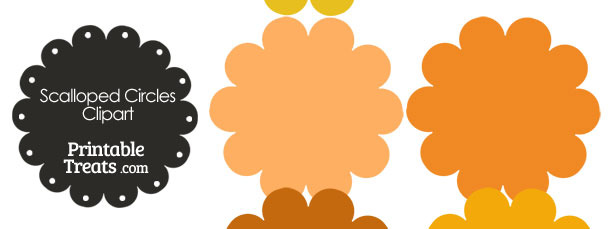 Scalloped Circles Clipart in Shades of Orange