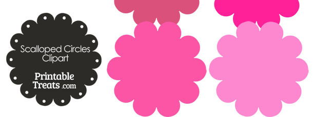 Scalloped Circles Clipart in Shades of Pink