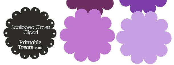 Scalloped Circles Clipart in Shades of Purple