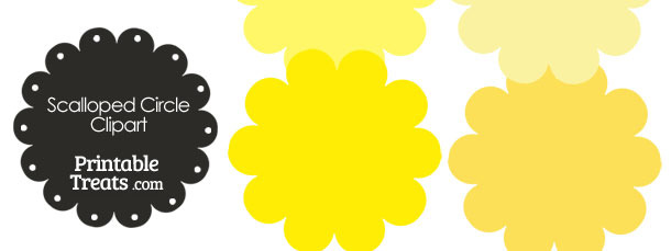 Scalloped Circles Clipart in Shades of Yellow