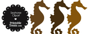Seahorse Clipart in Shades of Brown