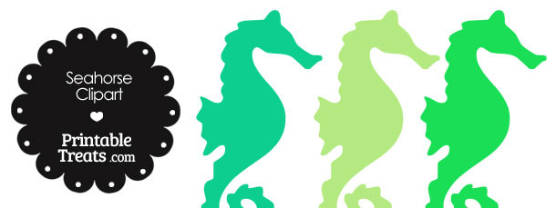 Seahorse Clipart in Shades of Green