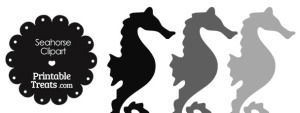 Seahorse Clipart in Shades of Grey