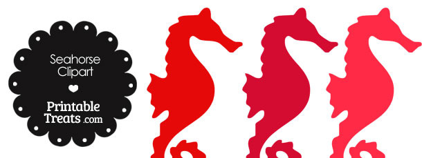 Seahorse Clipart in Shades of Red