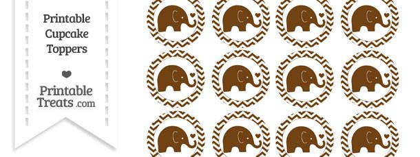 Sepia Baby Elephant Chevron Cupcake Toppers