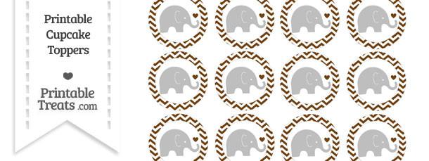 Sepia Chevron Baby Elephant Cupcake Toppers