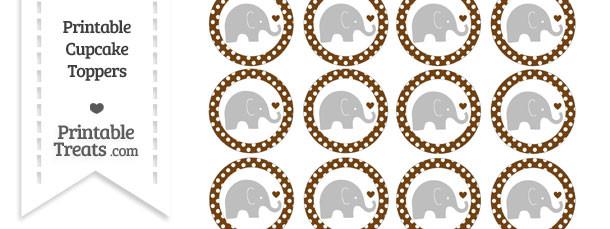 Sepia Polka Dot Baby Elephant Cupcake Toppers