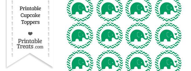 Shamrock Green Baby Elephant Chevron Cupcake Toppers