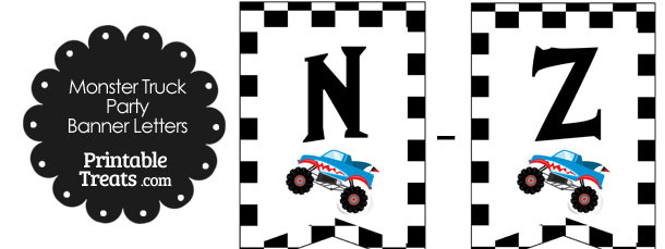 Shark Monster Truck Banner Letters N-Z