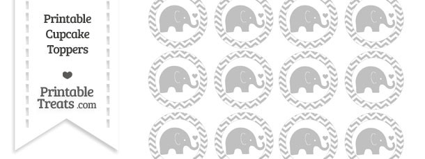 Silver Baby Elephant Chevron Cupcake Toppers